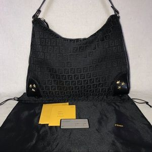 FENDI Large Black Zucchino Bag w/ Cards & Dust Bag